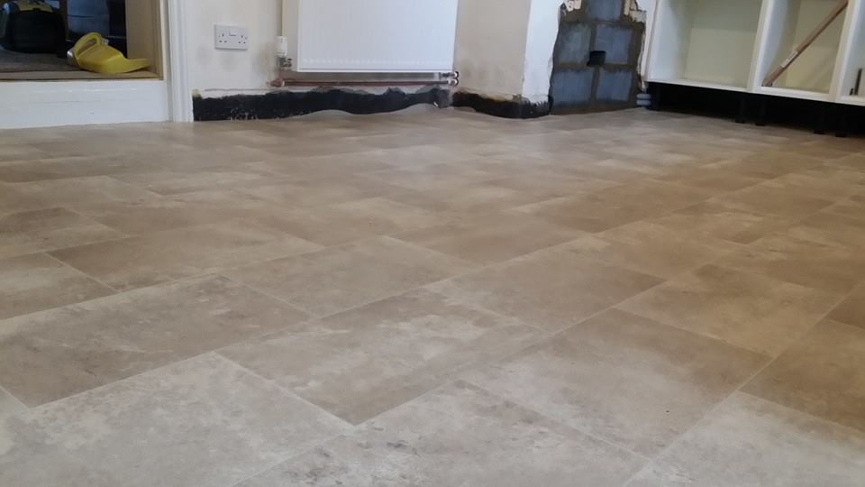 stone effect flooring in a renovated room
