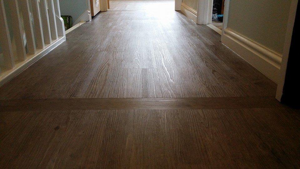 woodgrain vinyl floor on a landing