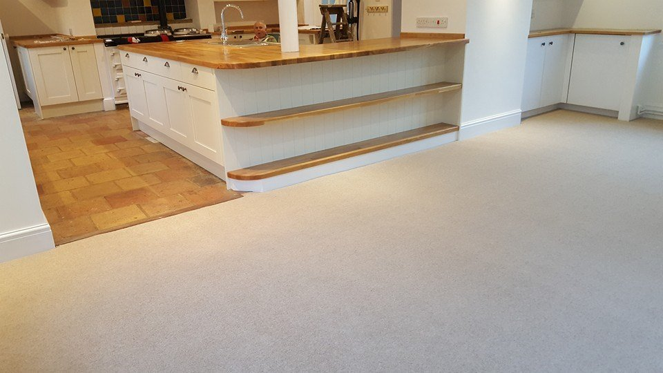 carpeted breakfast bar area