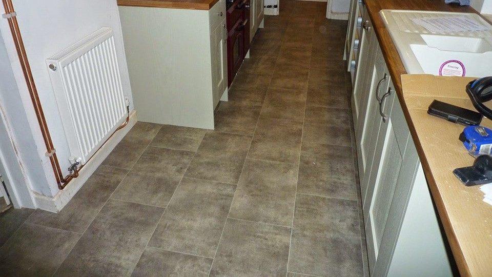 vinyl flooring in a galley kitchen